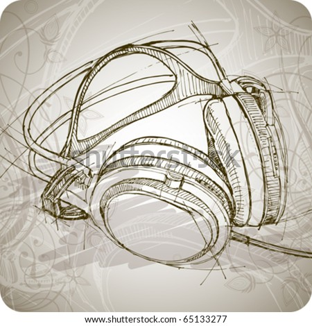 sketch of headphones on the background with floral patterns