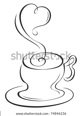 Sketch of hot cup with steam in heart shape