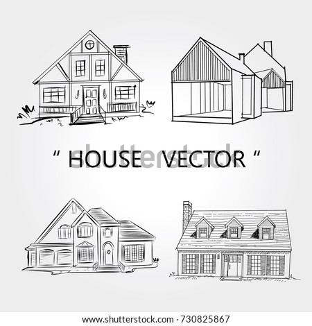 Sketch of  house architecture .Drawing  free hand residence.