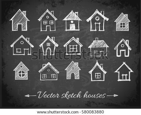 Sketch of houses on blackboard background. Vector illustration.
