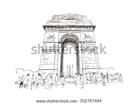 sketch of india gate at delhi