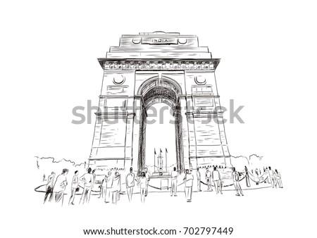 sketch of india gate at delhi