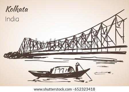 sketch of indian city kolkata