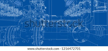 Sketch of industrial equipment. Vector rendering of 3d. Wire-frame style. The layers of visible and invisible lines are separated stock photo