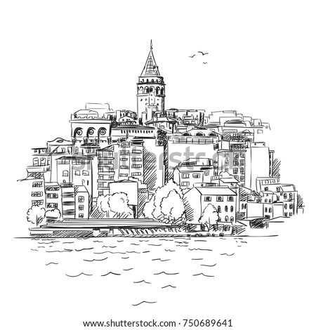 sketch of istanbul cityscape