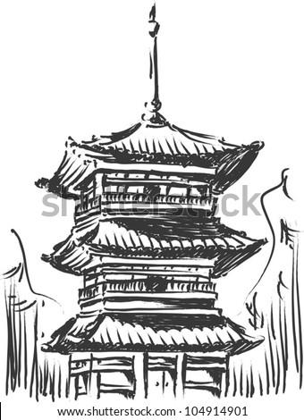 sketch of japan landmark