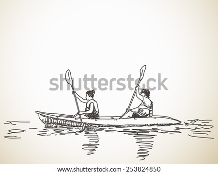 Sketch Of Kayaking People Hand Drawn Vector Illustration