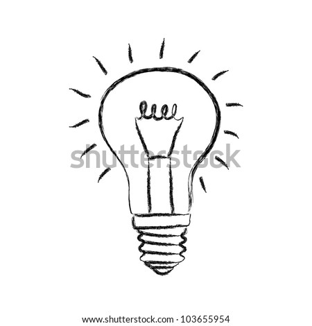 Stock Vector Sketch Of Light Bulb On White Background on value drawing