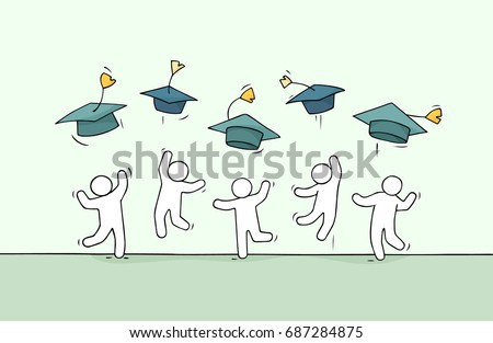 Sketch of little people celebrate graduation. Doodle cute miniature scene about end of college. Hand drawn cartoon vector illustration for education.