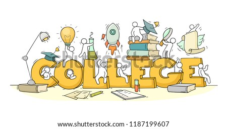 Sketch of little people with word College. Doodle cute miniature scene about education. Hand drawn cartoon vector illustration.