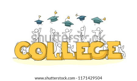 Sketch of little people with word College. Doodle cute miniature scene about end of education. Hand drawn cartoon vector illustration. Imagine de stoc ©