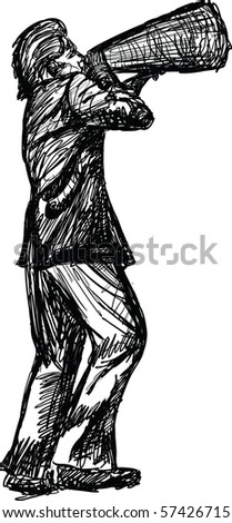 sketch of man shouting into a magnaphone
