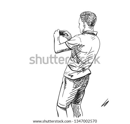 Sketch of man taking photo with smart phone, Back view, Hand drawn illustration