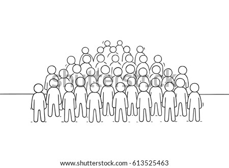 Sketch of many people standing together. Doodle cute miniature scene of big crowd. Hand drawn cartoon vector illustration for business and social design.