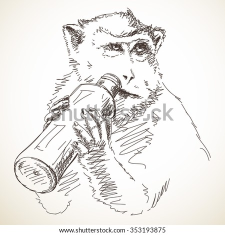 Sketch of monkey drinking from bottle, Hand drawn illustration