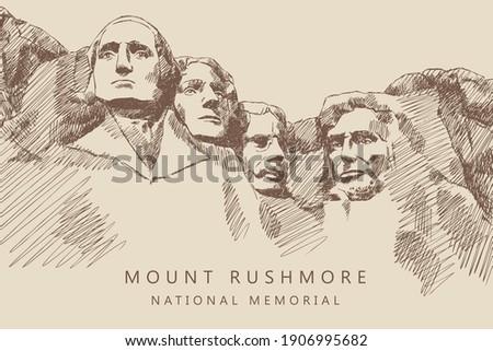 Sketch of Mount Rushmore National Memorial, South Dakota, America, hand-drawn. Stock photo ©