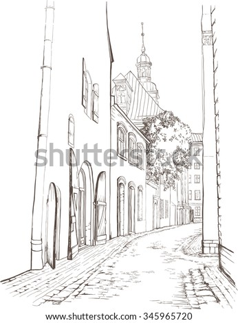 sketch of old town street