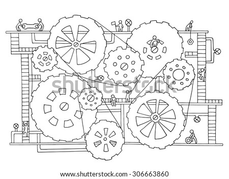 Sketch of people teamwork, gears, production. Doodle cartoon mechanism with machinery and cogwheels. Hand drawn vector illustration for business design isolated on white.