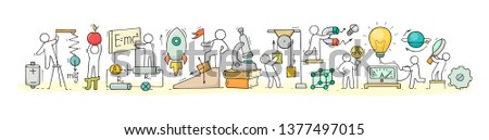 Sketch of physics lab with working little people. Doodle cute miniature of teamwork and science symbols. Hand drawn cartoon vector illustration for school subject design.