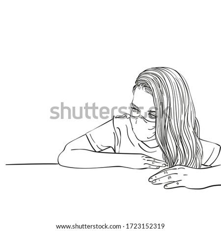 sketch of preteen girl portrait