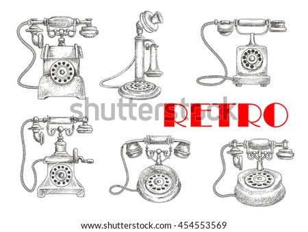 rotary telephone vector vector art stock graphics sketch of retro or vintage telephones rotary dial and old candlestick earphone and switchhook