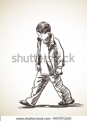 sketch of sad boy walking  hand