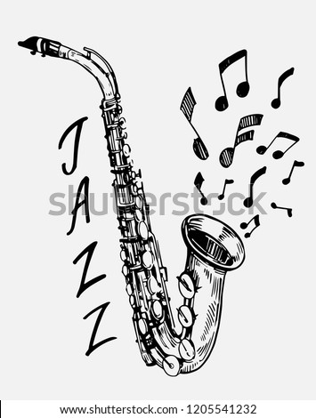 Sketch of saxophone. Jazz instrument. Hand drawn illustration converted to vector
