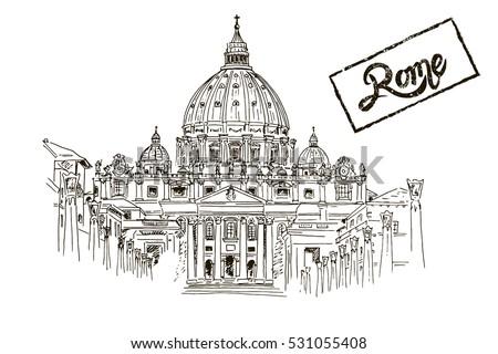 sketch of st peter's basilica