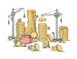 Sketch of stack of coins with working little people. Doodle cute miniature of construction golden coins and preparing for the big profit. Hand drawn cartoon vector illustration for business design.