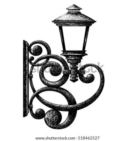 Sketch of street light , lamppost , candlestick