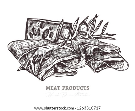 Sketch of tasty slices of meat, smoked pork or spanish jamon with olive and cheese. Vector monochrome hand drawn illustration of finger food, delicatessen antupasti