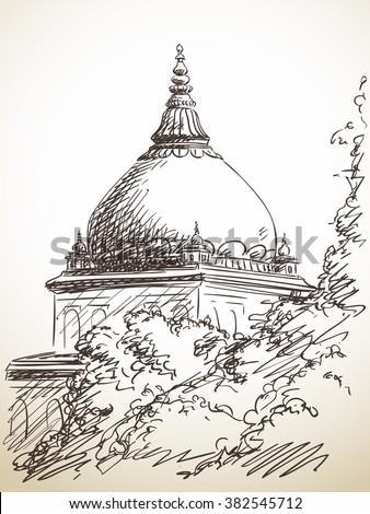 sketch of temple behind tree