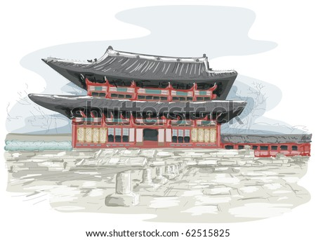 Sketch of Temple in Seoul, South Korea - stock vector