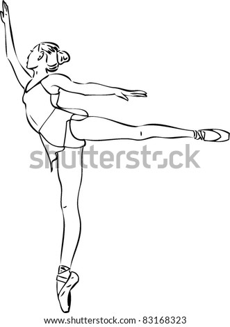 Sketch of the ballerina in arabesque position in the pointe - stock vector