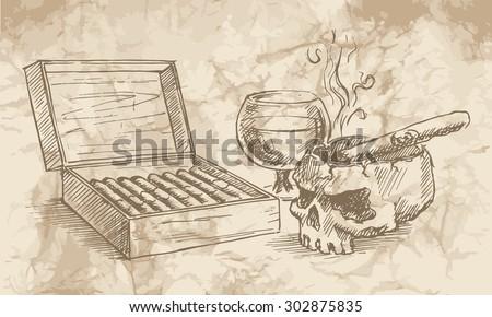 sketch of the cigars  skull