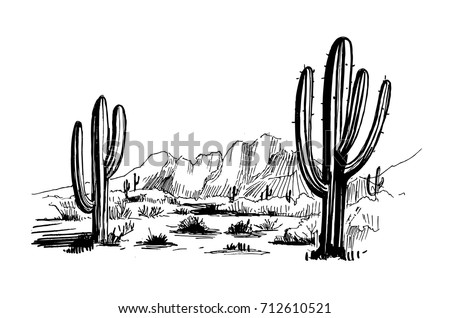 Sketch of the desert of South America with cacti. Prairie landscape. Hand drawn vector illustration
