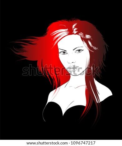 Sketch of the face of a fashion girl. Fashion girl face. Women face on a black background.