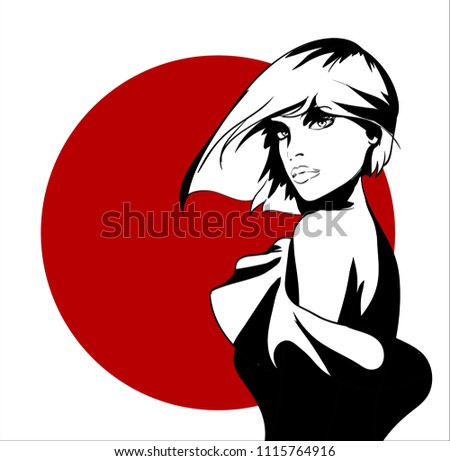 Sketch of the face of a fashion girl. Fashion girl face. Women face on a white background with a red circle.
