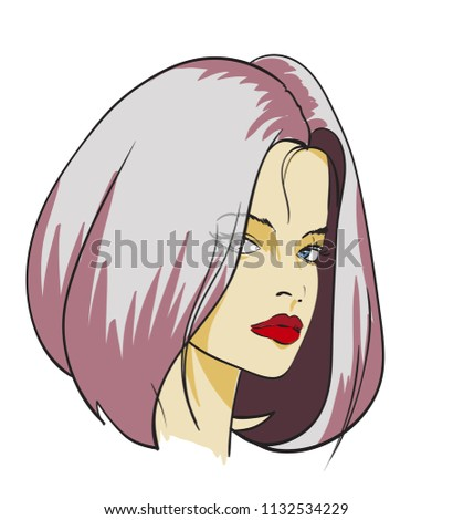 Sketch of the face of a fashion girl. Fashion girl face. Women face on white background.
