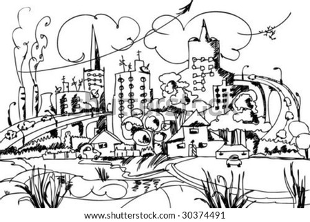 city skyline drawing. stock vector : sketch of the