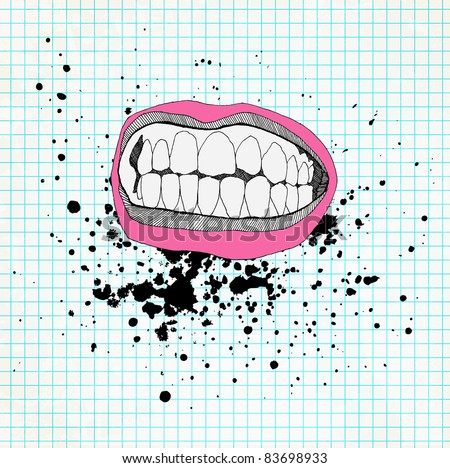 Sketch of the lips and teeth on the school paper. Grunge background. - stock vector