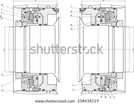 Sketch of the shaft seal. Vector EPS10