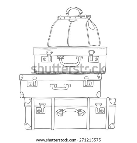 sketch of the suitcases on...