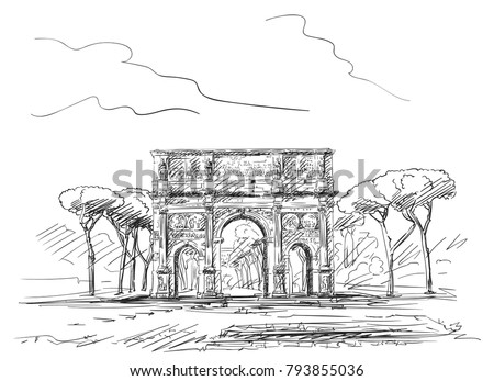 sketch of triumphal arch of