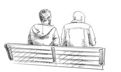 Sketch of two men sit on bench, View from behind, Hand drawn vector illustration with hatched shades isolated on white background