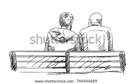 sketch of two men sit on bench