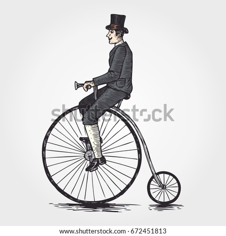 sketch of victorian man riding