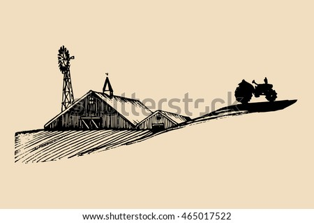 Sketch of village barn, tractor and windmill. Vector rural landscape illustration. Hand drawn farm, agricultural homestead for poster, card etc.