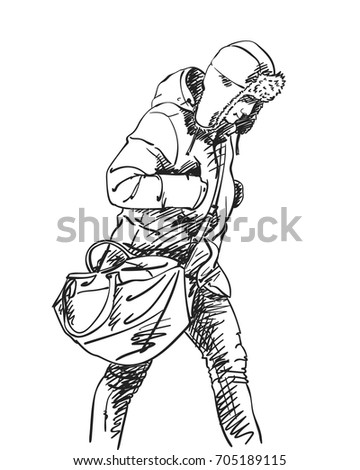 Sketch of walking Man with big bag in winter clothes and hat with ear flaps, Hand drawn vector illustrations with hatched shades