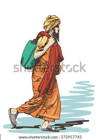 sketch of walking sadhu  hand